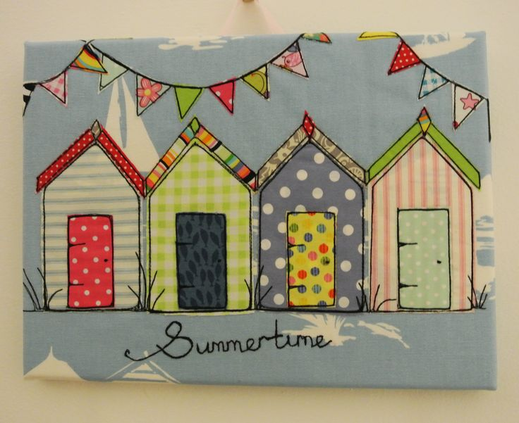SOLD OOAK canvas beach huts and bunting. www.etsy.com/shop/daisyanndesigns