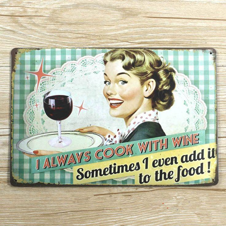 Retro poster kitchen cook with wine Metal Tin signs iron wall art decor bar home coffee 20*30CM free shipping HOT sale YT-00545(China (Mainland))