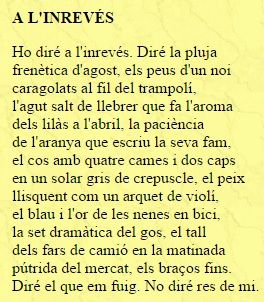"""Poema """"A l'inrevés"""" pertanyent a l'obra """"Da Nuces Pueris"""""""