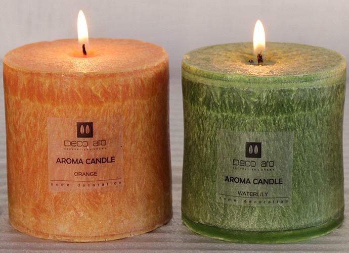 palm wax pillar candles.     Find more on www.decoaro.com