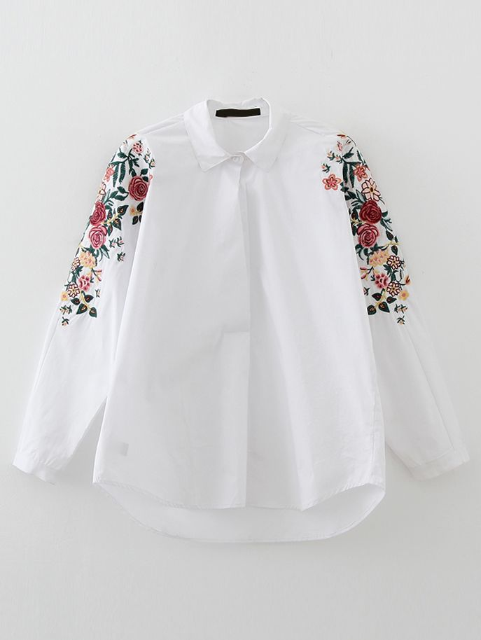 Buy White Flower Embroidery High Low Blouse from abaday.com, FREE shipping Worldwide - Fashion Clothing, Latest Street Fashion At Abaday.com