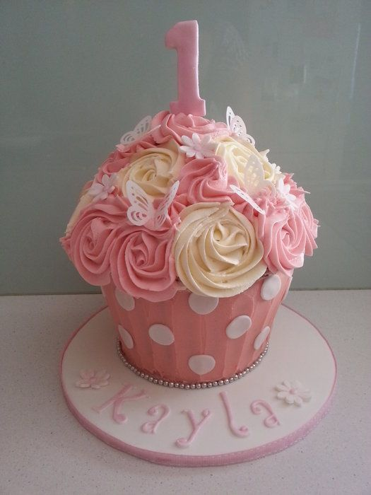 Pink and Cream Giant Cupcake with Butterflies and Flowers Cake smash cake possibility