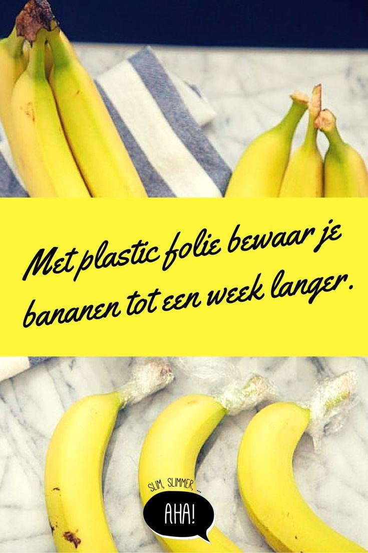 Bananen worden minder snel bruin met wat vershoudfolie rond de steel.