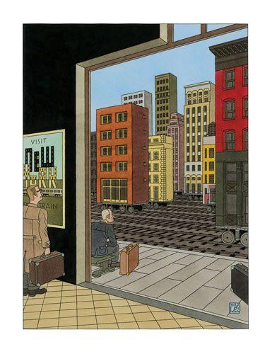 New York by train - Joost Swarte - Griffioen Grafiek