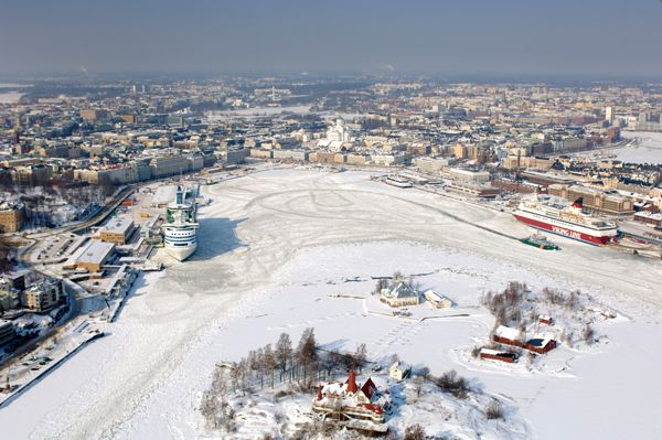 This is what Helsinki looked like when I went. It was early March. The sea was frozen and it was really cold! but so beautiful.
