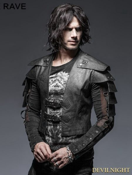 Black Gothic Armor Warrior Short Jacket for Men - Devilnight.co.uk