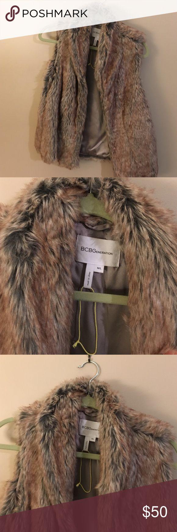 BCBG Fur Vest BCBG fur vest. M/L size would really fit either. NWOT, was a gift. Make an offer! BCBGeneration Jackets & Coats Vests