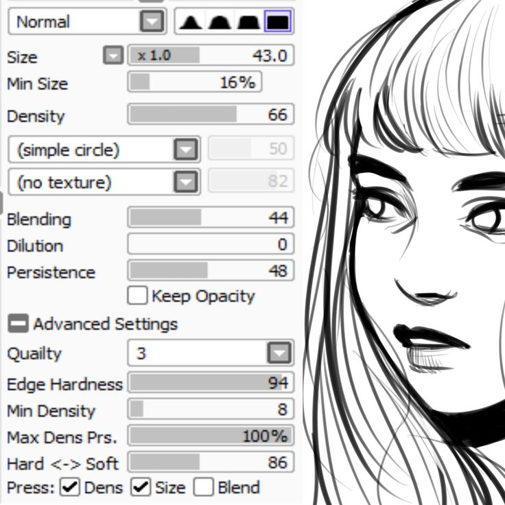 narootos:  i know im on semi-hiatus now but i totally forgot a couple of people wanted me to post my brush settings and that doesn't take too much time so here they are! plus a sketch to show the results i get with it.this is the only brush i use next to the standard pen tool (to lay down flat colors.)