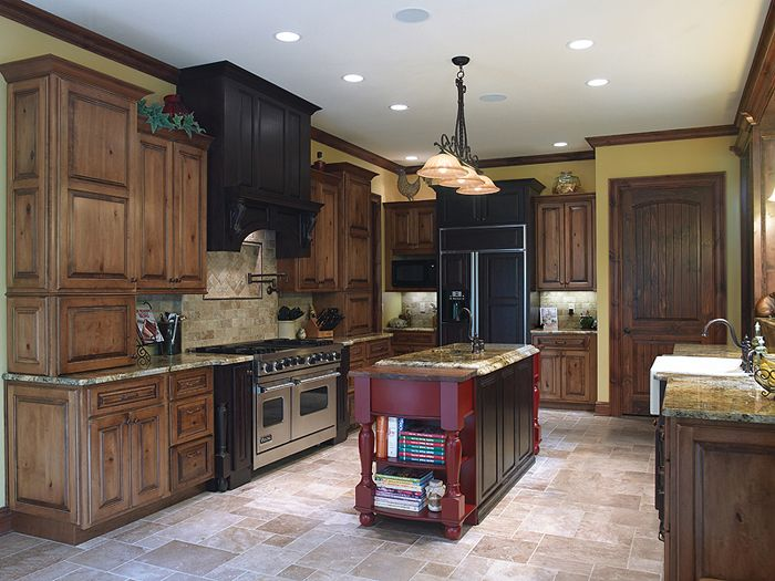 red kitchen cabinets with black glaze perimeter cabinets acorn rustic maple with black glaze 9200