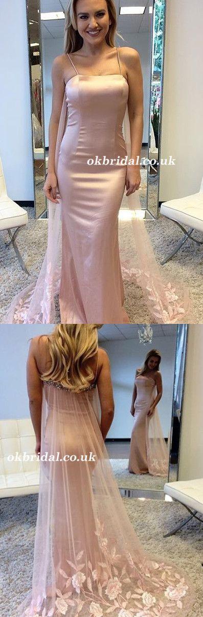 Sexy Prom Dress, Spaghetti Straps Prom Dress, Beaded Prom Dress, Applique Prom Dress, Backless Prom Dress #okbridal