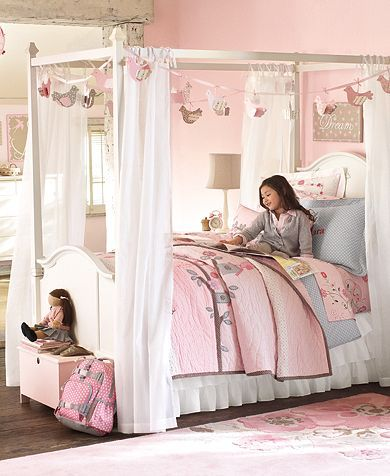 cute bird garland around canopy bed (Birds are made from cardstock and  covered in polyester, cotton fabric. Details - Overall: long, Bird wide x  high)