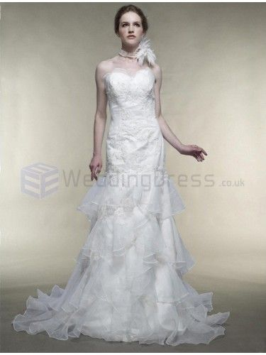 Trumpet Mermaid Sweetheart Satin Organza Court Train Wedding Dress with Beading