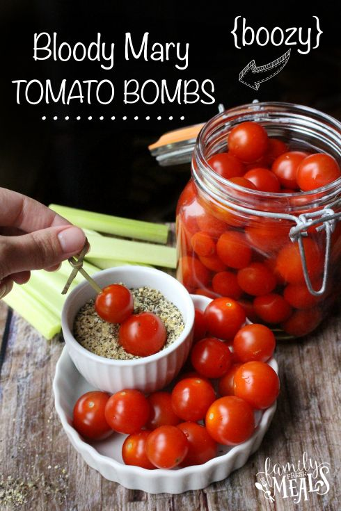 Boozy Bloody Mary Tomato Bombs For appetizer put on a skewer with a piece of salami, sopressato, or other and stand in the salt.
