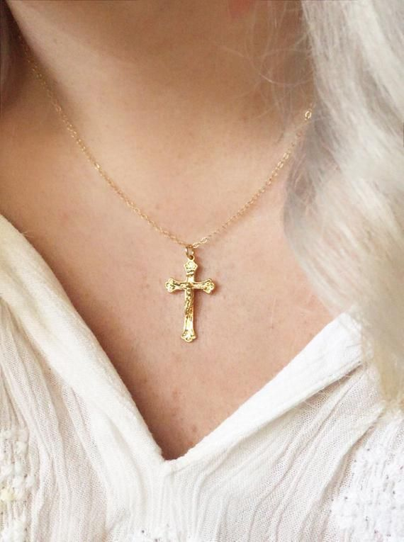 Gold Cross Necklace Pendant Christian Religious Gift Friend Valentines Day Birthday