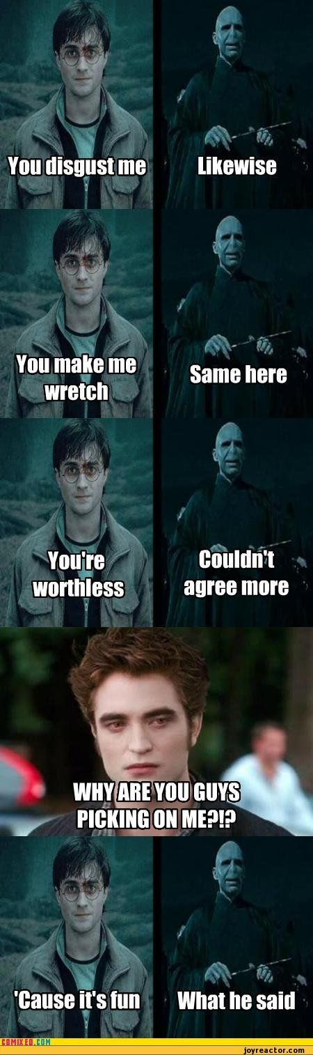 Edward Cullen, lord Voldemort and Harry Potter