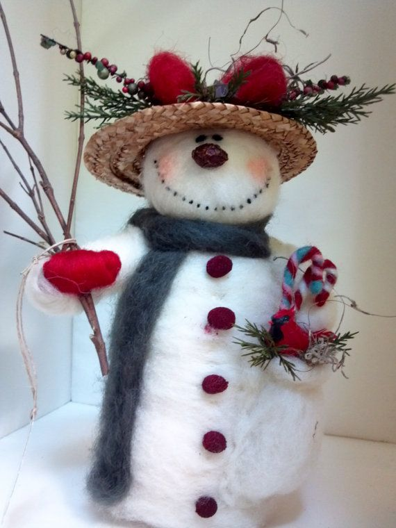 """*NEEDLE FELTED ART ~ Pretty Pockets Felted Wool Snowlady - 10"""" - NEW for 2013"""