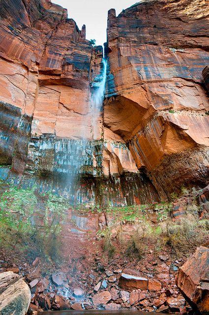 Emerald Falls in Zion National Park, Utah.