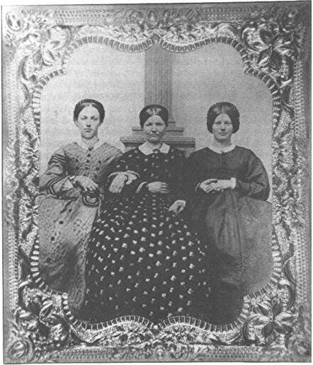 This is the only known photo of Mary Virginia Wade, known locally as Jennie, taken in 1861 when she was 18. She is to the right. The woman in the center is Maria Comfort, 48 (Georgia's friend who lived on Baltimore Street, Gettysburg, Pennsylvania) and to the left of her is Georgia Wade, 20. Jennie Wade was the only civilian killed during the Battle of Gettysburg. Discover more history @ www.thehistorygirl.com