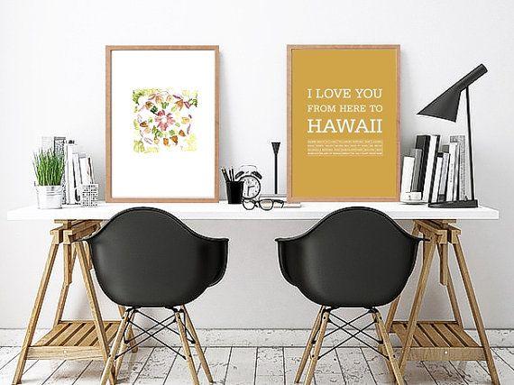 Hawaiian islands travel poster Hawaiian decor Hawaii art Love Hawaii Typography print Hawaii Hawaiian typography art print Hawaii art print by ArtMii