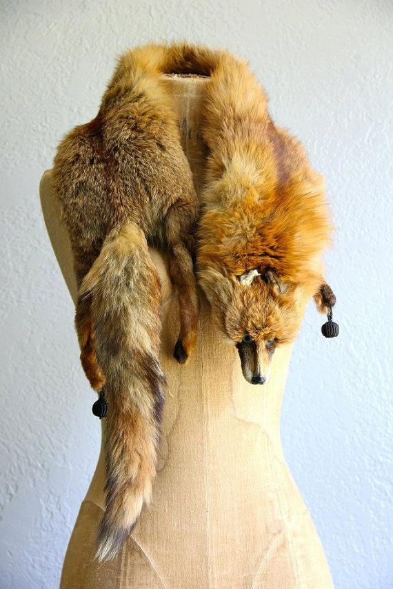1930's fox fur stole hollywood regency vintage fur by andemonster, $65.00