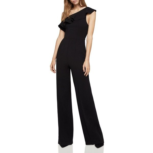 BCBGeneration One-Shoulder Ruffle Jumpsuit (432225 PYG) ❤ liked on Polyvore featuring jumpsuits, bcbgeneration jumpsuit, jump suit, evening jumpsuits, ruffle jumpsuit and bcbgeneration