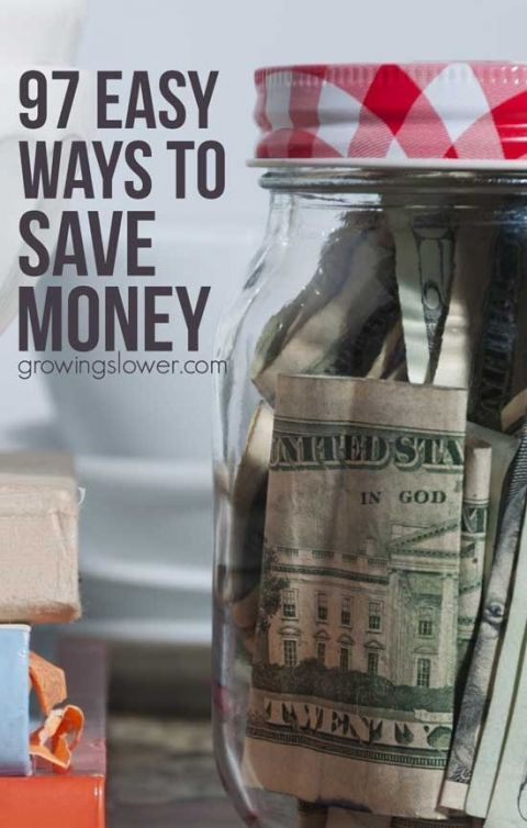 Find out how you can cut your budget right now with this huge list of 97 Easy Ways to Save Money. This list includes simple money saving tips on everything from saving money on groceries to health care, kids stuff, utilities, transportation, gifts, entert