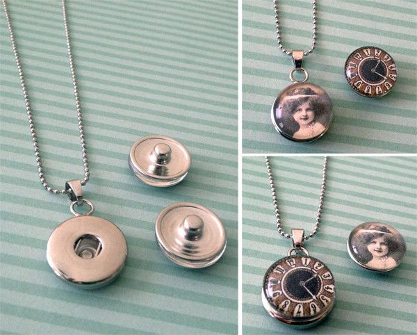 Make 10 interchangeable snap jewelry necklace pendants with this kit! You can change your photo with your mood, or to match your outfit! Easily unsnap one photo