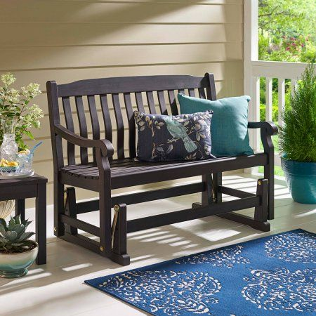 Better Homes and Gardens Delahey Outdoor Porch Glider Bench, Dark Brown, Seats 2 Image 1 of 5
