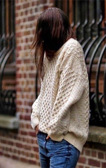 Oversized Wire Knit Sweater With Jeans