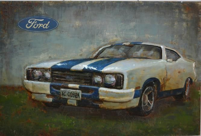 $699.95 This 3D Steel Wall Art Painting Ford XC Cobra is an attractive feature to your Indoor or Outdoor room. This wall art has been hand crafted with a metal frame and handpainted on metal to create a 3D piece. Wonderfully unique, if you are looking for that WOW factor, these are stunning! Dimensions: 1200MM X 800MM Colour: Natural Rusted & Colourful paint