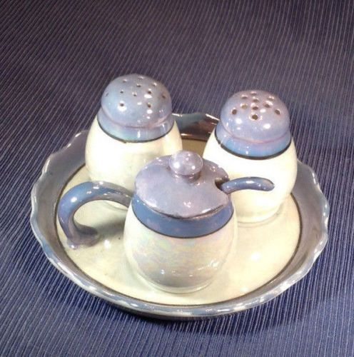 Six-Piece-Blue-And-Iridescent-White-Lustre-Condiment-Set-Made-In-Japan