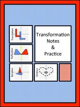 Try these interactive and structured notes to help your students understand transformations on the coordinate plane. Manipulative shapes are used to help students visualize the movements and the use of patty paper (or tracing paper) is optional, but will add that extra zip to your lesson! Highlighters will also add visual interest to your presentation. These notes are perfect for use in interactive notebooks. Students will investigate translations, reflections, rotations, and dilations.