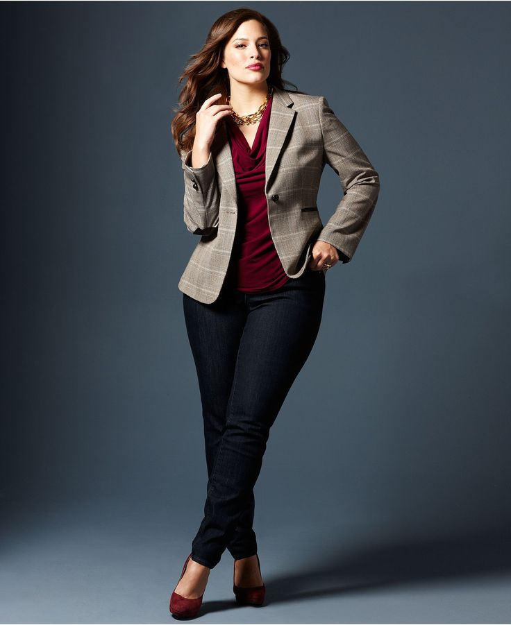 Work outfit - Fall Trend Report Plus Size Jackets Preferred Blazer & Jeans Look - Women - Macy's