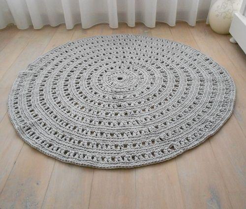 Rond Vloerkleed Crochet - Licht grijs 150cm