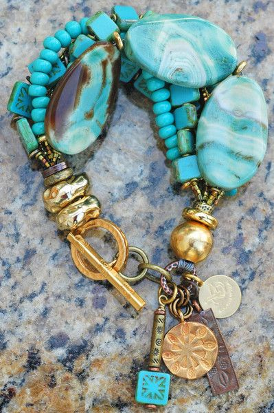 Capri Bracelet: Beautiful Turquoise, Blue Agate, Glass and Gold Charm Bracelet $195
