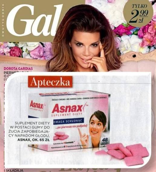 Gala, maj 2013. Według Gali, Asnax™ powinien znaleźć się w Twojej apteczce. Dlaczego? Bo pomaga zapobiegać napadom głodu. A to pozwoli Ci uniknąć pokusy zjedzenia niedozwolonej przekąski.