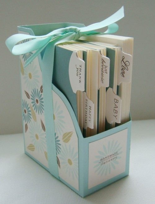 A handmade card holder with tabs to divide the cards into categories. I love this idea!