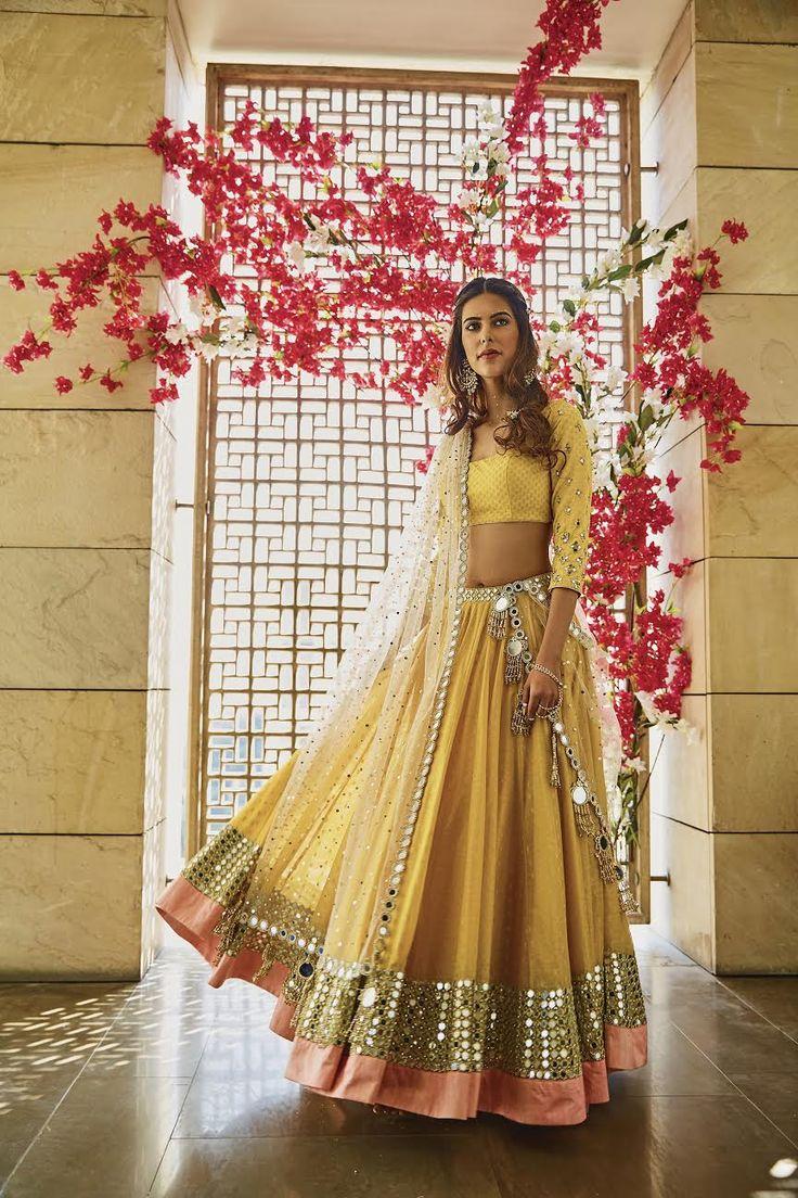 Yellow Mirror Embroidered Lehenga Set By Abhinav Mishra