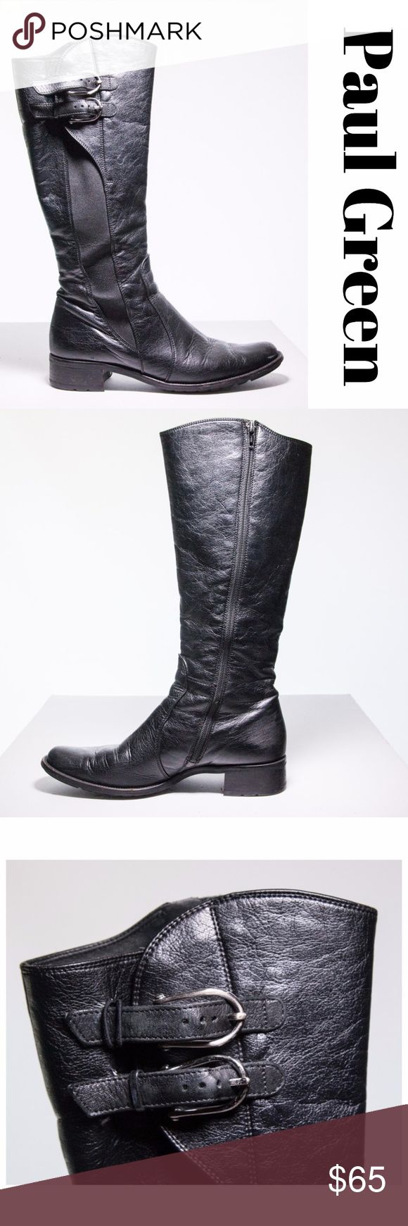 Paul Green Black Leather Riding Boots Size 8 Gorgeous Paul Green riding boots with 2 buckle side accents. This Austrian luxury footwear brand creates versatile, fashion-forward designs with supreme fit and quality.  Pre-loved and in good condition, show some wear (see picture 5 and 6) but it still has a lot of life in them.  Made in Austria size 5 which is 38 EU or 8 US. Paul Green Shoes