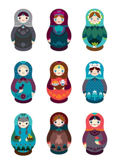 Cute illustration of russian dolls in modern colours.