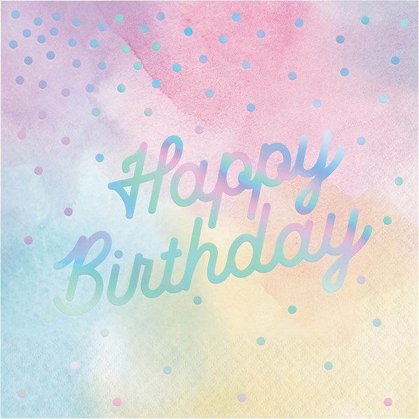 Rainbow Foil Lunch Napkins 3 ply Happy Birthday Foil Stamped