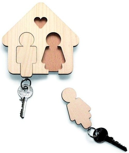 his and hers wooden key holder...this would be SO cute painted!