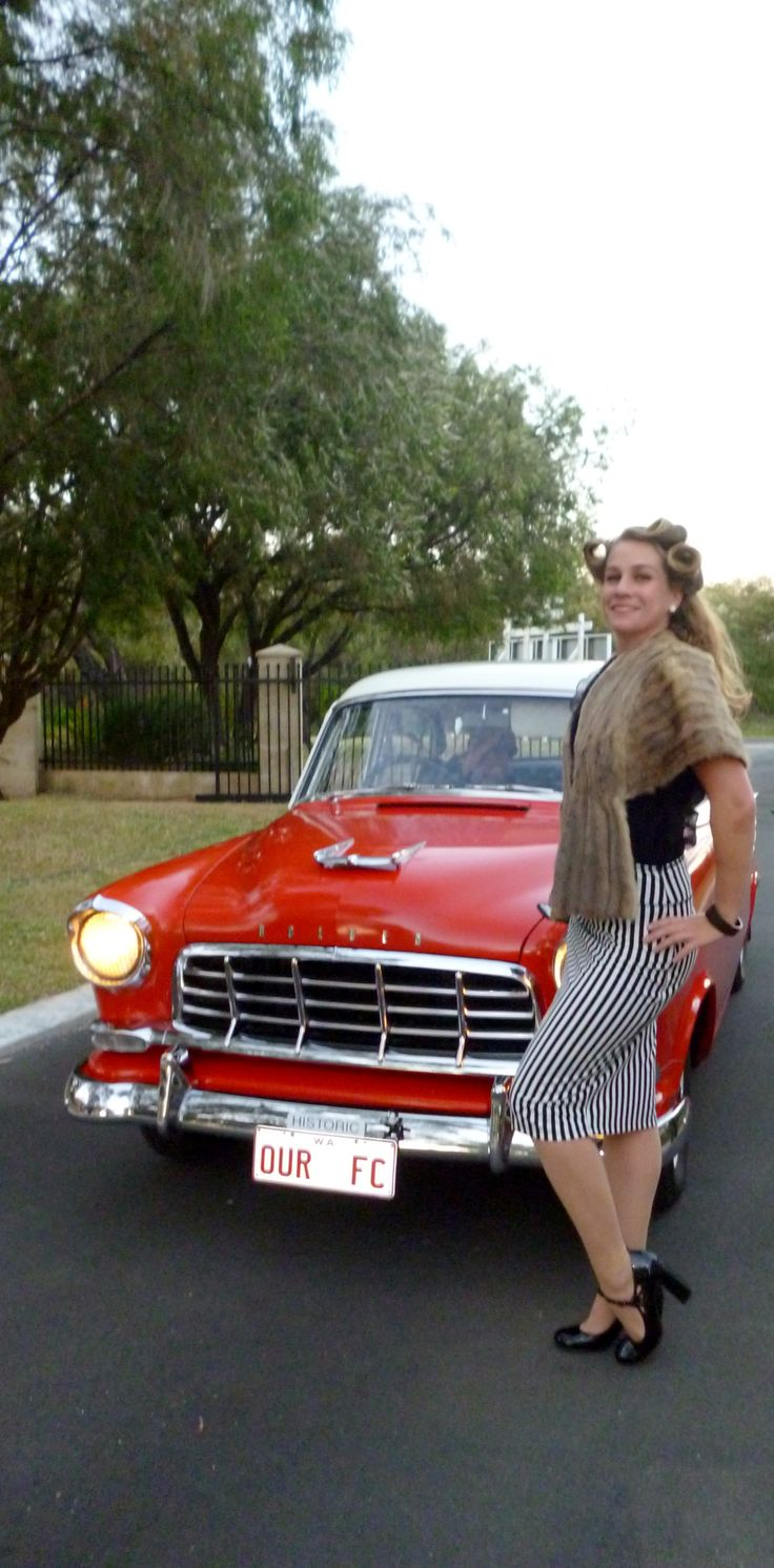 Miss Belle Lamarre & a Red Hot Car at Busselton Drive In.November 2013.