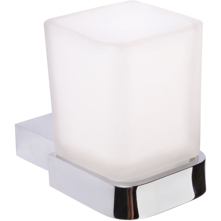 BR NY Wall Frosted Glass Toothbrush Toothpaste Holder Bathroom Tumbler - Zinc