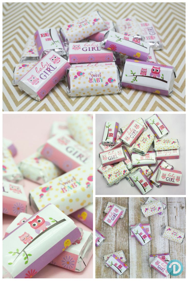 Owl love you!  Create your own Pink toned owl themed baby showers party favors with these peel & stick Hershey Mini Bar wrappers for a girl baby shower treat. #owlbabyshower