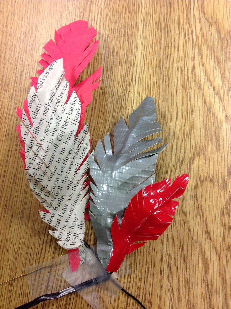"""Paper and Duct Tape Feathers - picture of my feathers, linked to """"How To"""""""