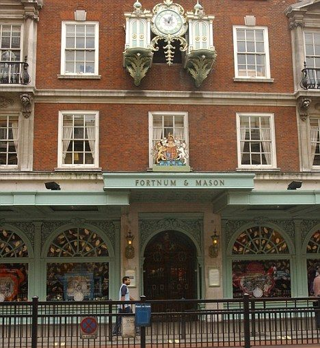 London Fortnum & Mason: wait for it!  Be there on the hour to watch the clock, listen to the music -- and wander through all floors inside... don't miss the food court for extravagances to take away for dinner