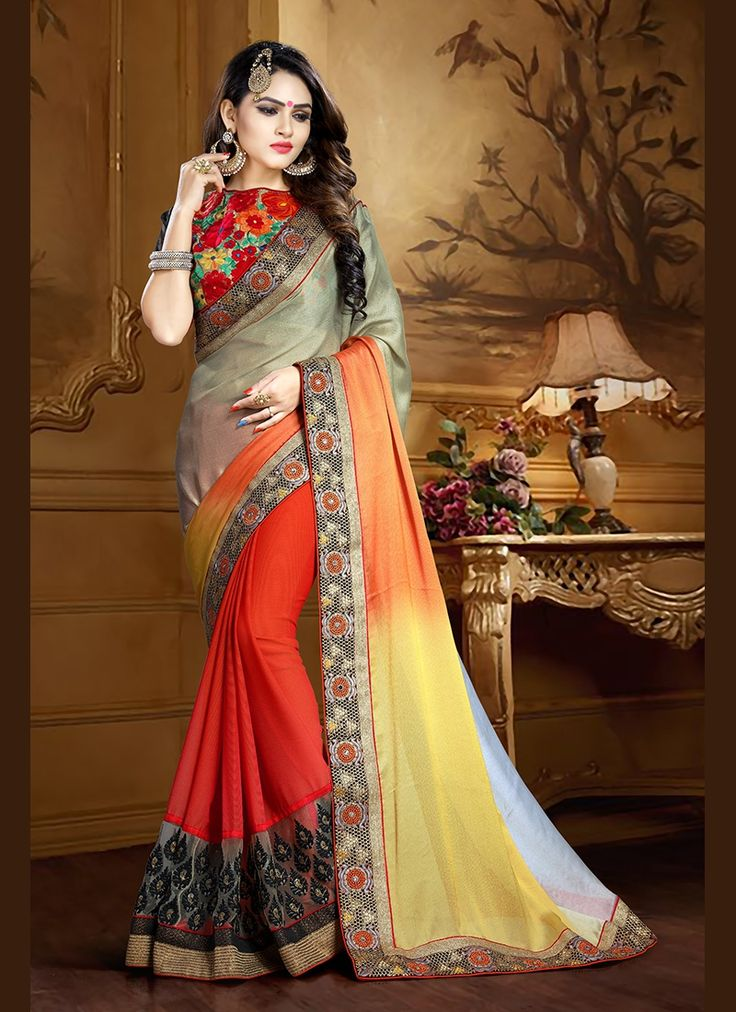Real magnificence will come out of your dressing style and design with this orange faux chiffon classic designer saree