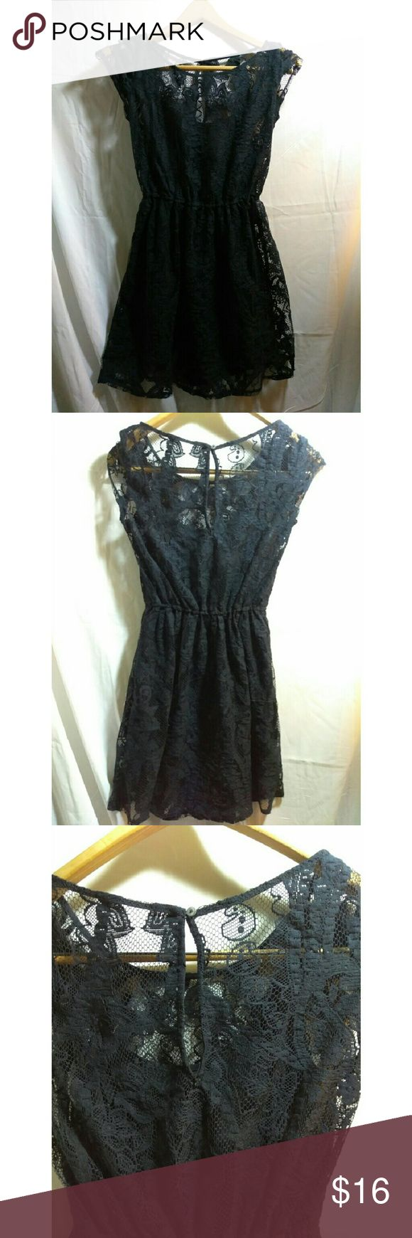 Little black lace dress small Barely worn See pictures for condition Black slip and lace  Small Hollister Adorable little black dress  Comment with questions Offer button for offers  :) Hollister Dresses