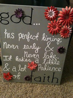 God has perfect timing... never early & never late. It takes a little patience and a lot of faith :)